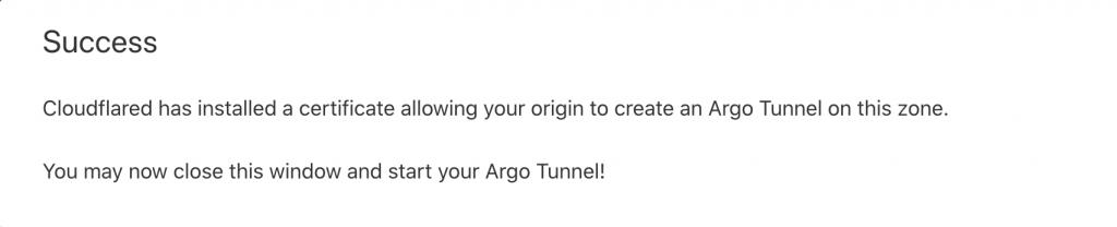 Argo tunnel setup success message