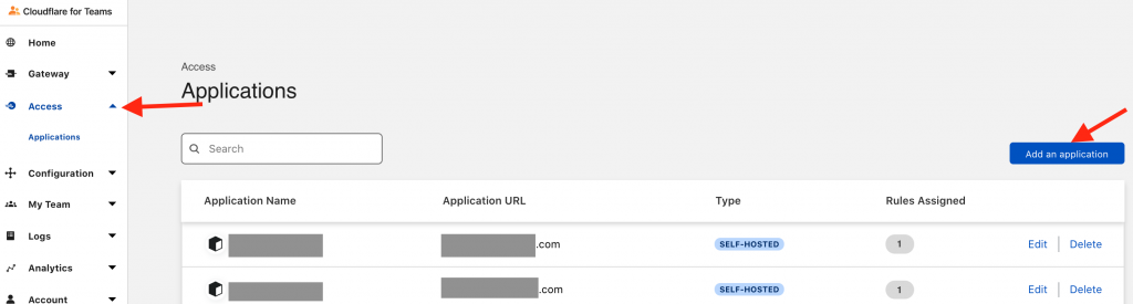 Adding an application to Cloudflare Teams