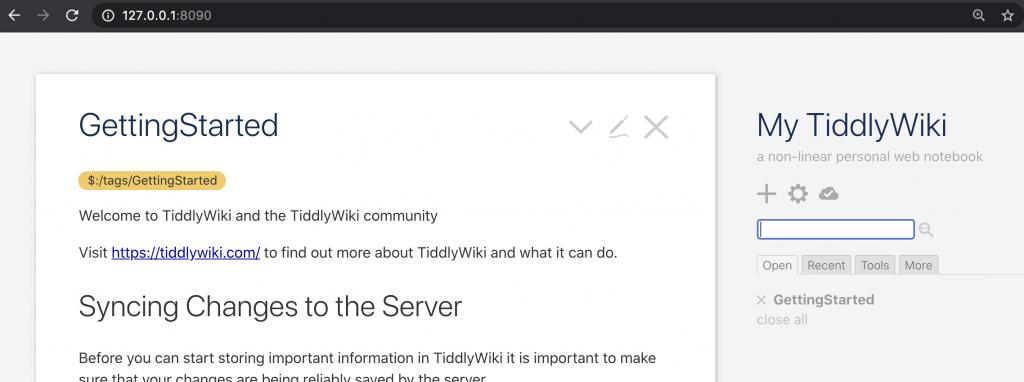 tiddlywiki running locally on nodejs