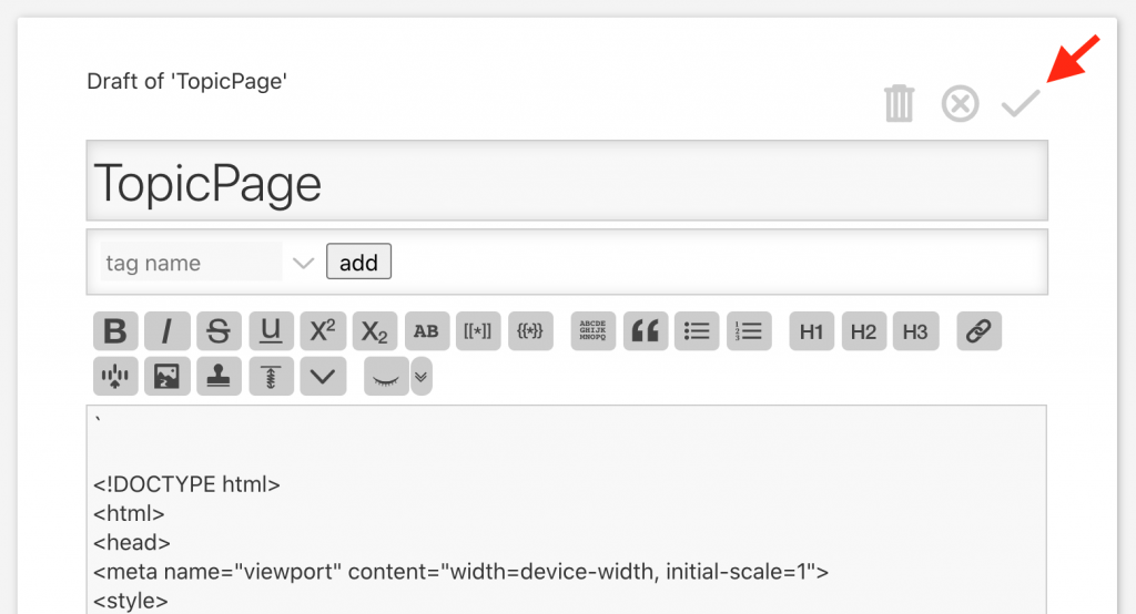 Saving HTML template in TiddlyWiki by clicking the checkmark.
