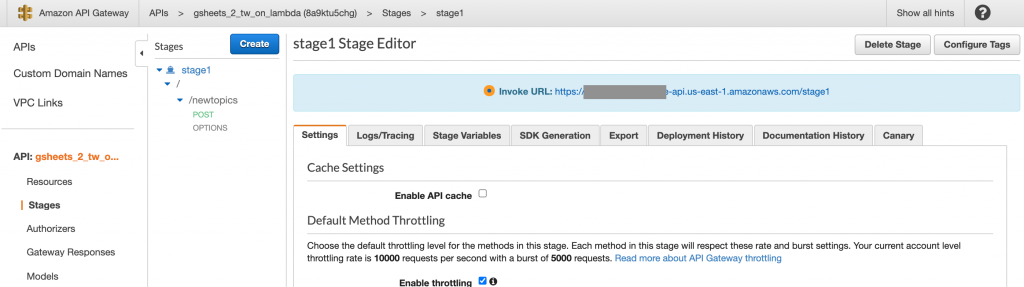 Note the URL of your API. To access our resource for POSTing, we'll add a trailing /newtopics.