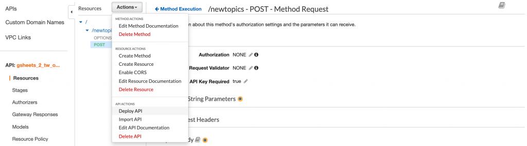 Click Actions >> Deploy API.