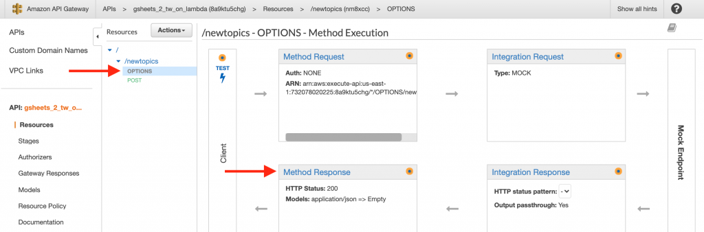 Navigate to the OPTIONS Method Response to start setting up some of the required Headers for CORS support.
