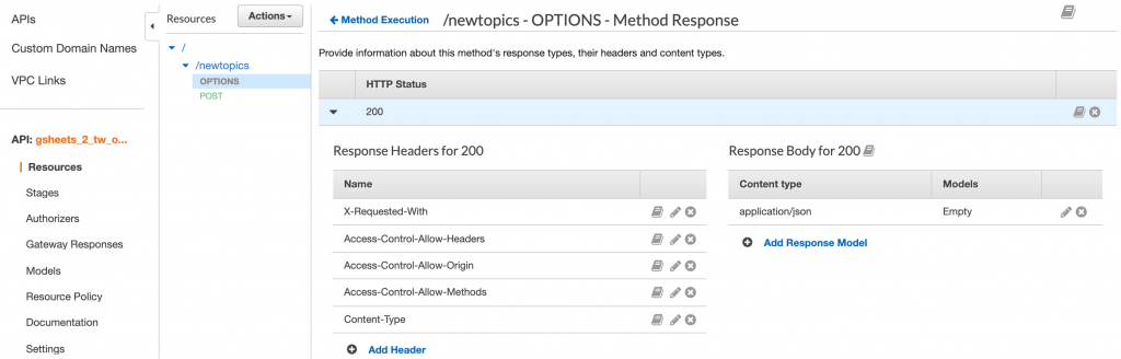 Make sure the headers you create in the Method Response match these exactly.