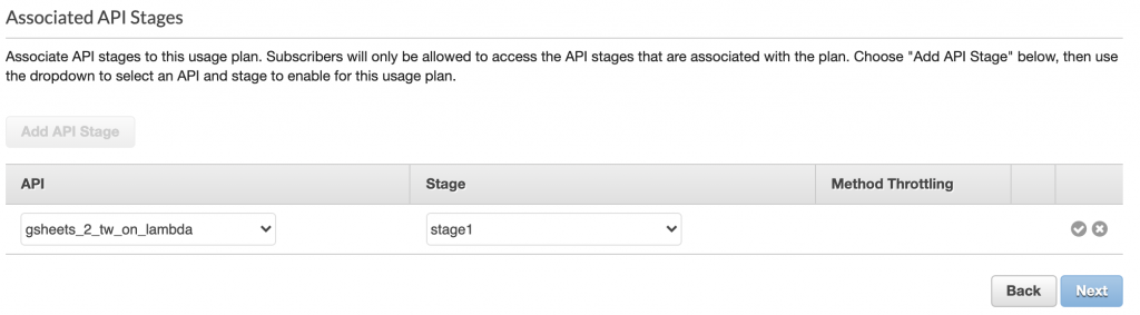 Choose the API and stage we've created, then click the check mark and click Next.