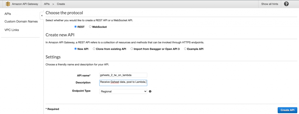 Choose REST, New API, give it a name and description and click Create API.