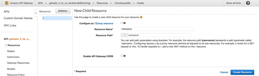 Creating a new resource in API Gateway.
