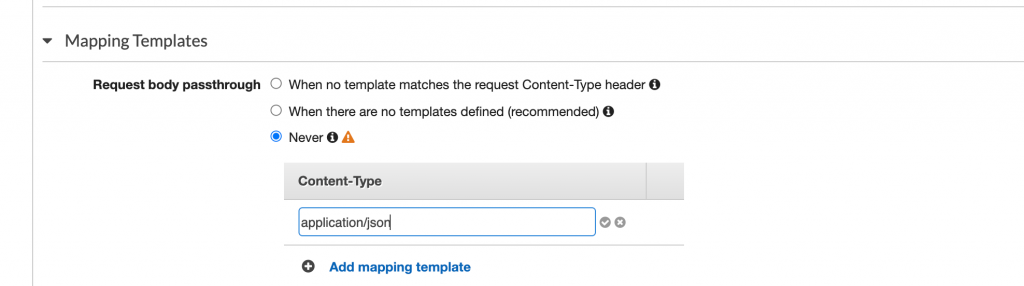 Type application/json, click the check, and the text will become a a hyperlink. Click it to open the Template editor.