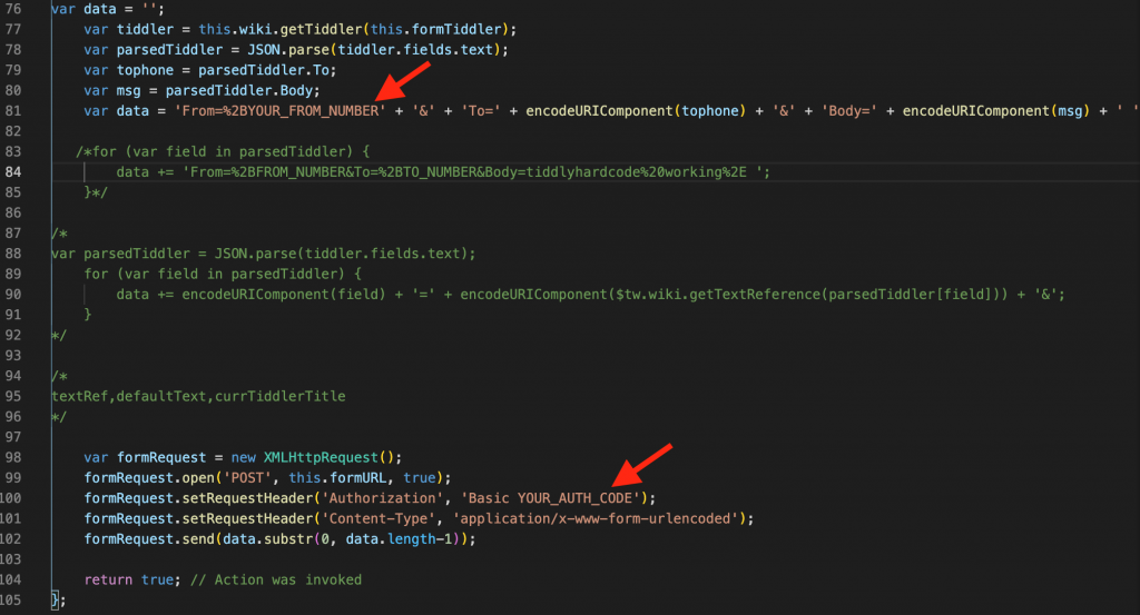 Just replace YOUR_FROM_NUMBER and YOUR_AUTH_CODE with your own Twilio deets, and you'll be texting in no time.