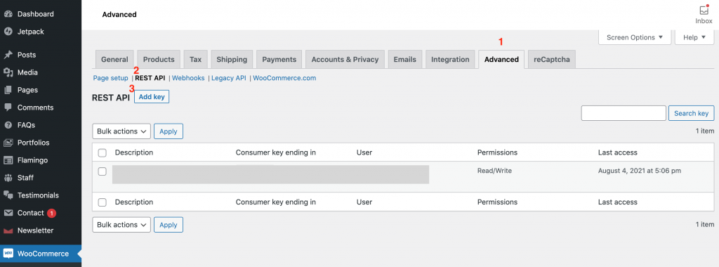 """Creating a WooCommerce API key for use in Pipedream. In this tutorial I will only be using """"Read"""" functionality, so you don't have to give the key Write permissions if you don't want."""